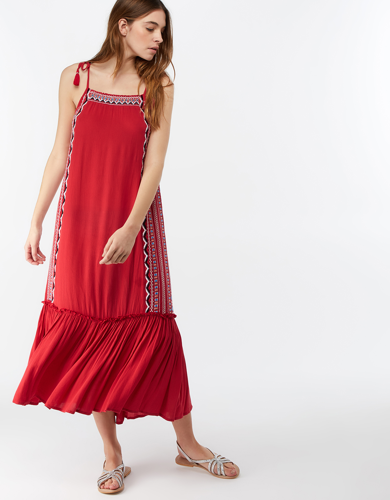 MONSOON LAYLA EMBROIDERED MAXI DRESS PINK (CORAL)