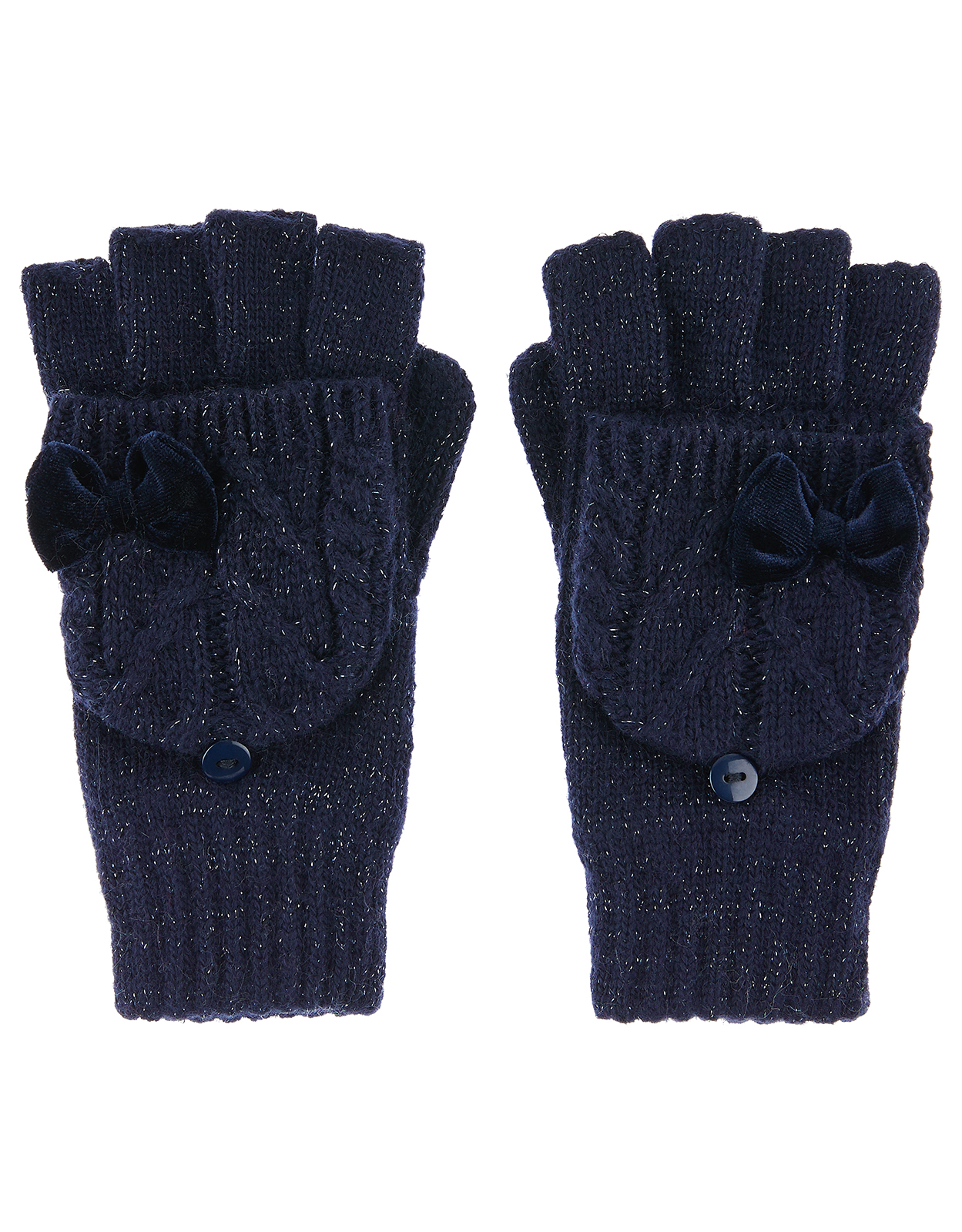 Monsoon Ellie Velvet Bow Cable Capped Gloves