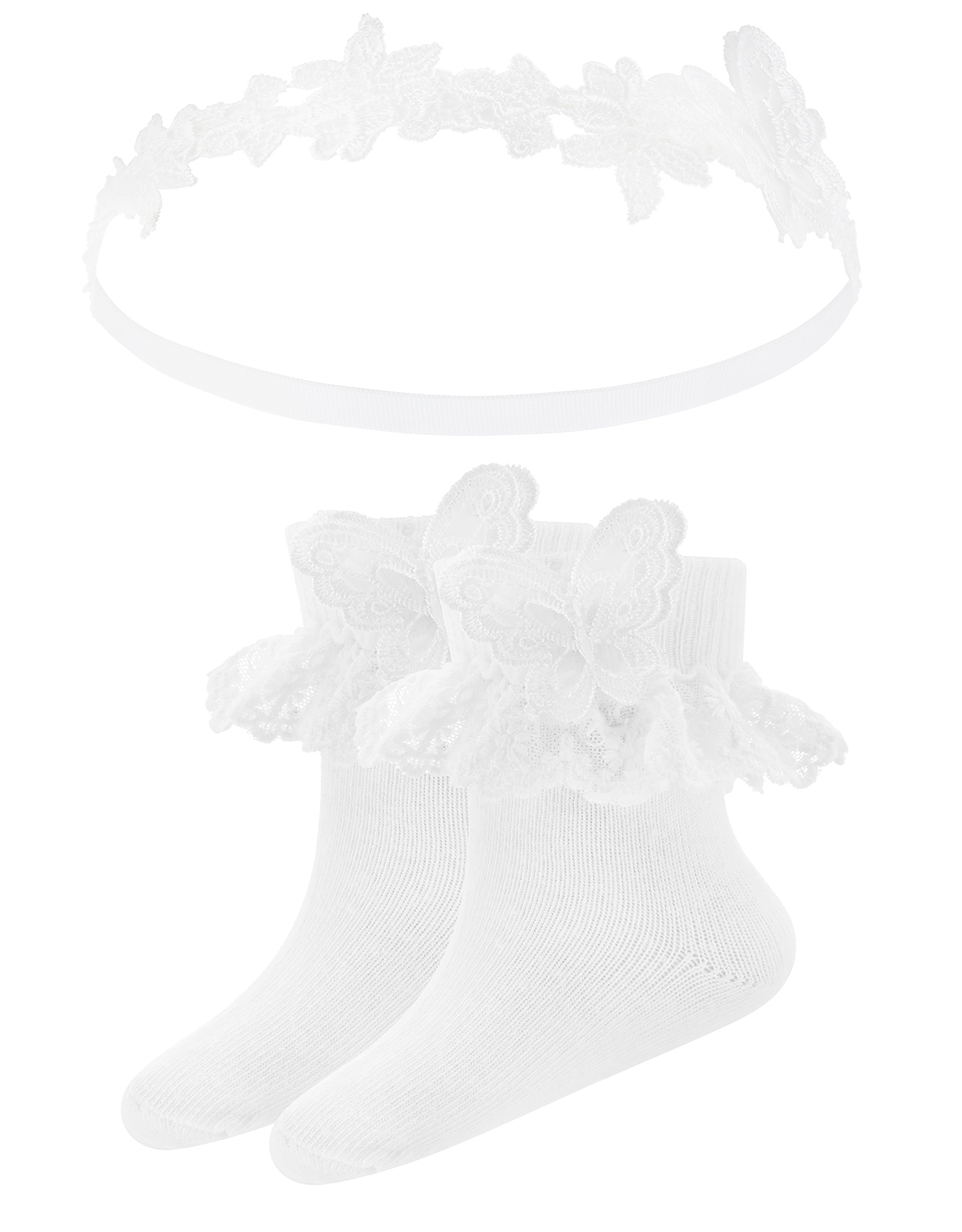 Monsoon Baby Lacy Butterfly Sock & Headband Set