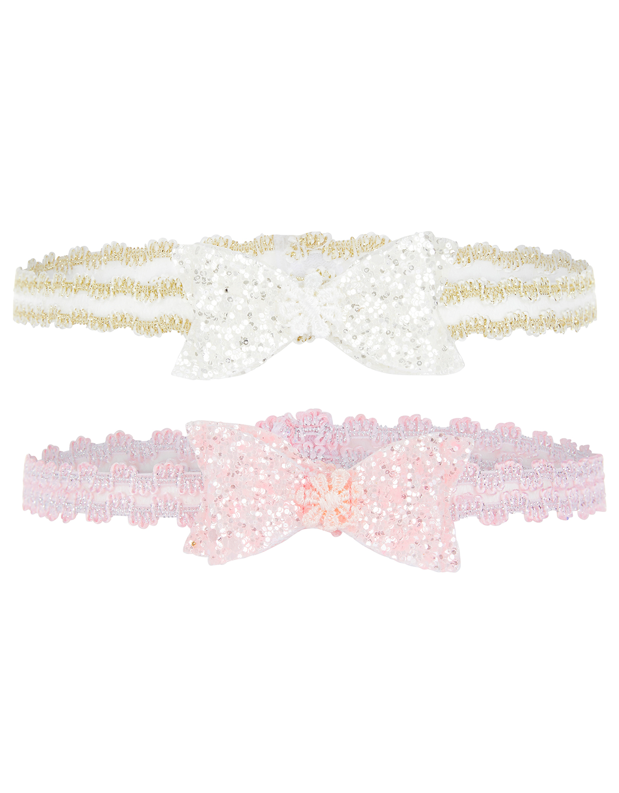 Monsoon Baby 2x Glitter Bow Headbands