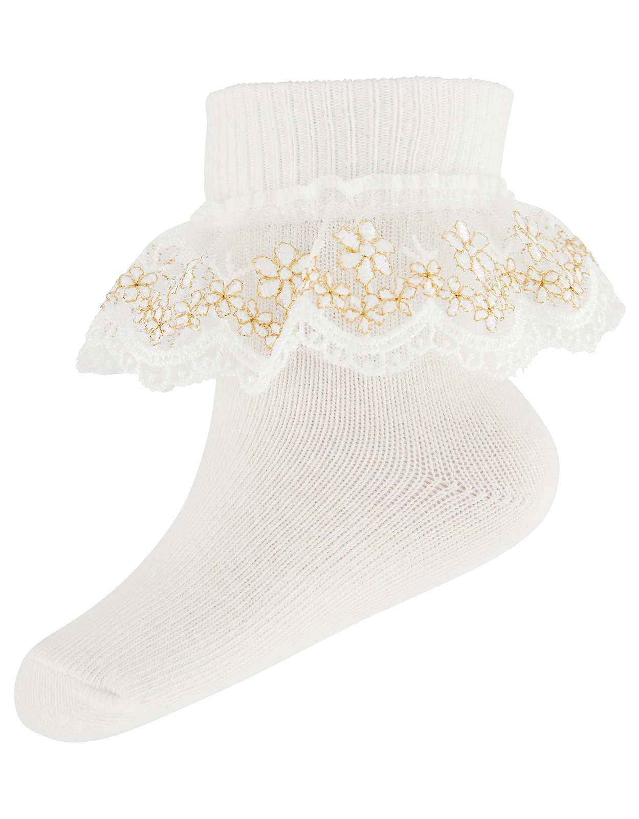 Monsoon Baby Metallic Floral Ankle Socks
