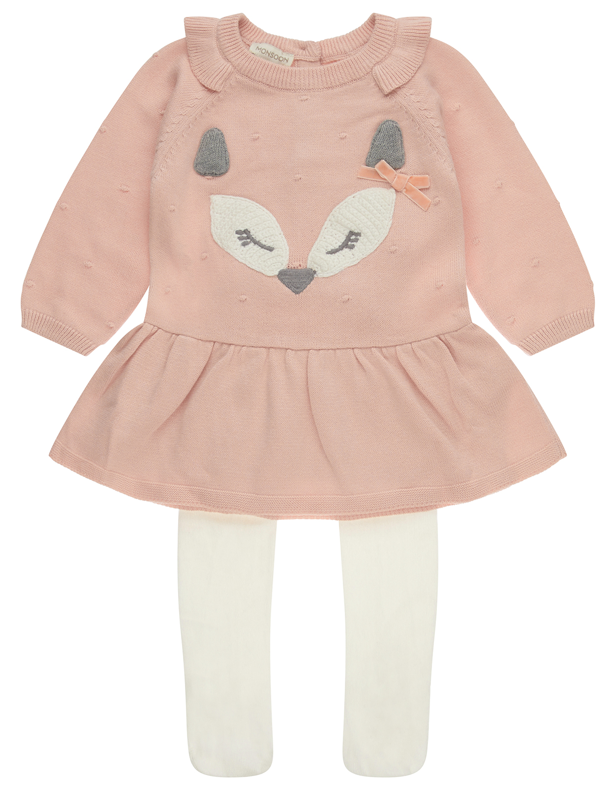 Monsoon Baby Felicity Fox Knit Dress & Tights Set