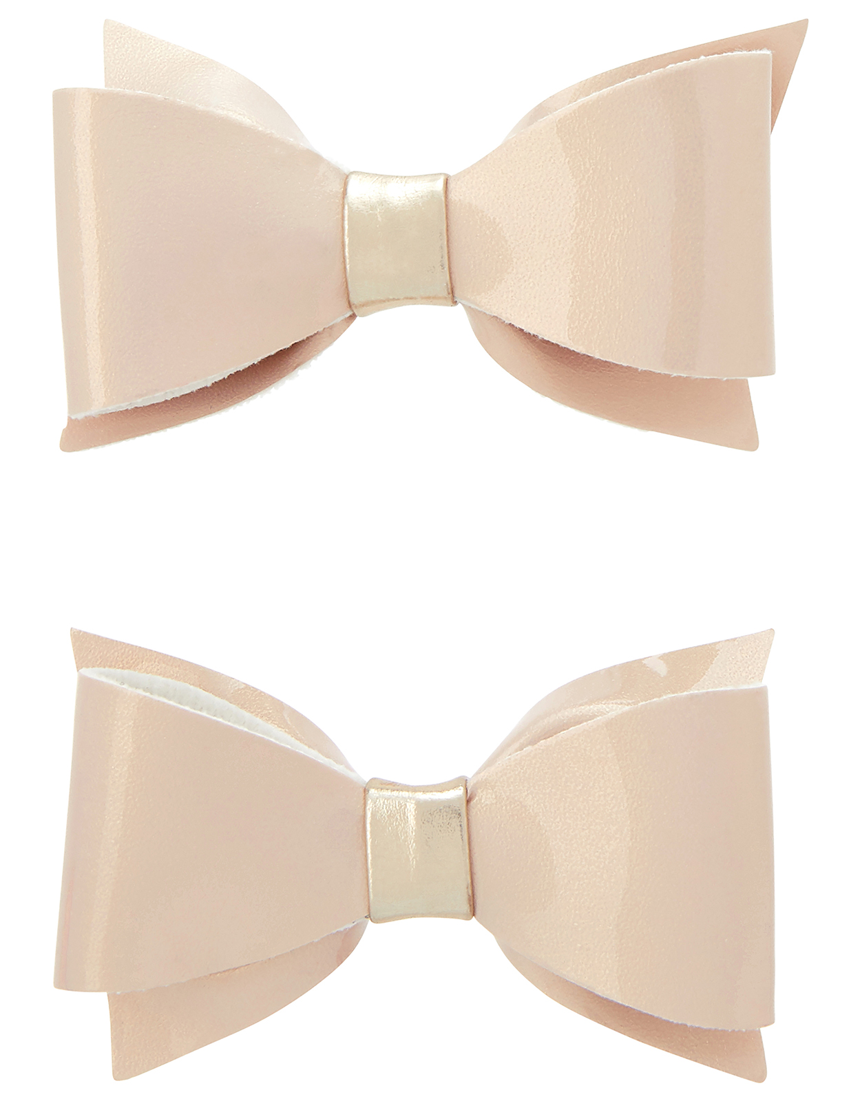 Monsoon 2x Pearly Patent Bow Hair Clips