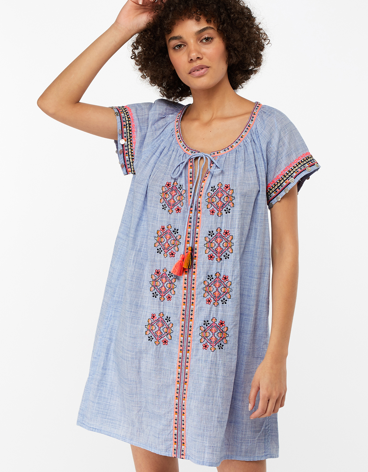 Monsoon Jasmin Embellished Coin Cotton Dress