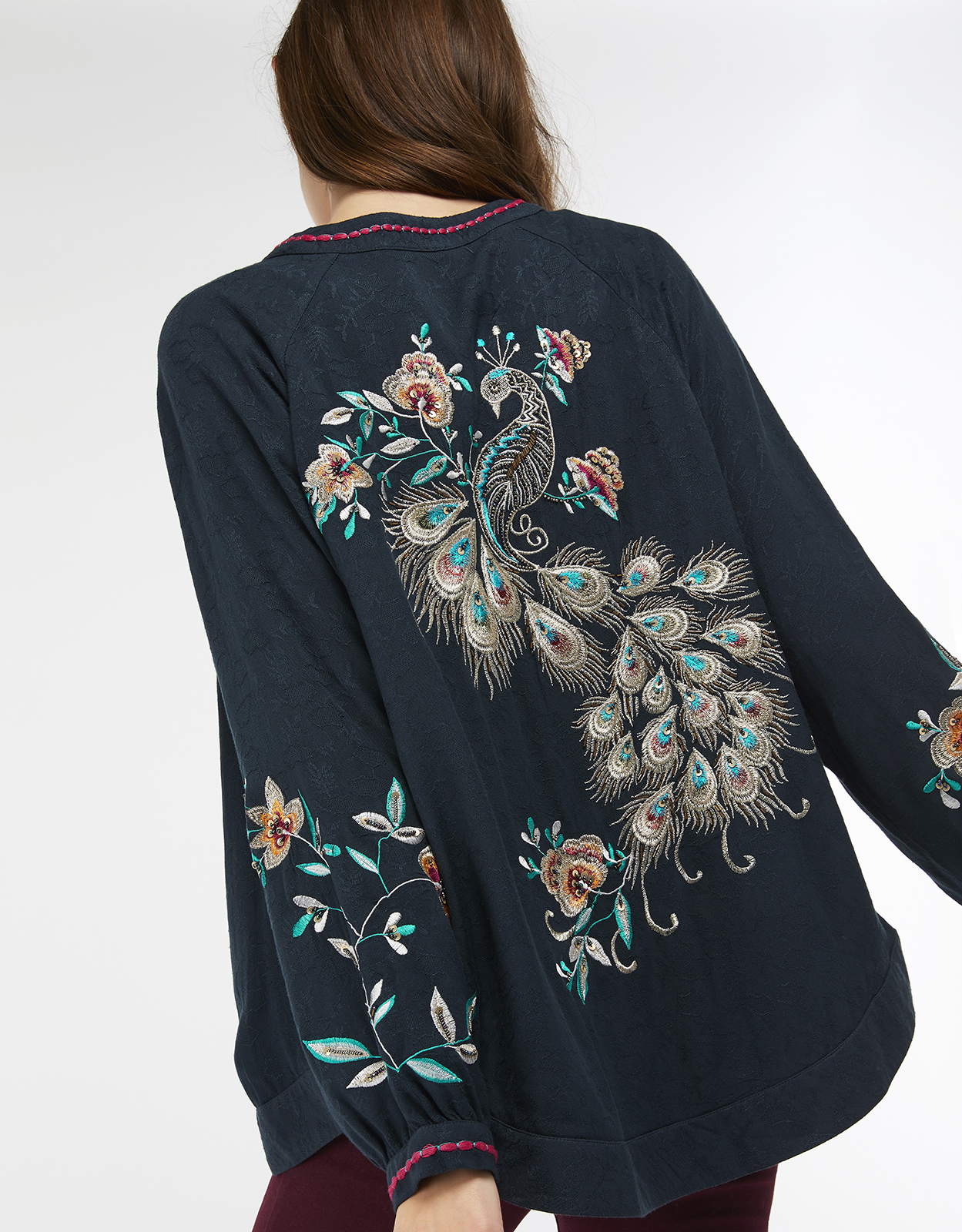 Monsoon Piper Peacock Embroidered Jacket