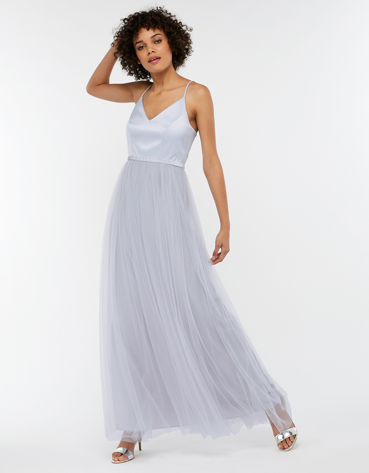 Monsoon Hollyanne Satin & Tulle Maxi Bridesmaid Dress