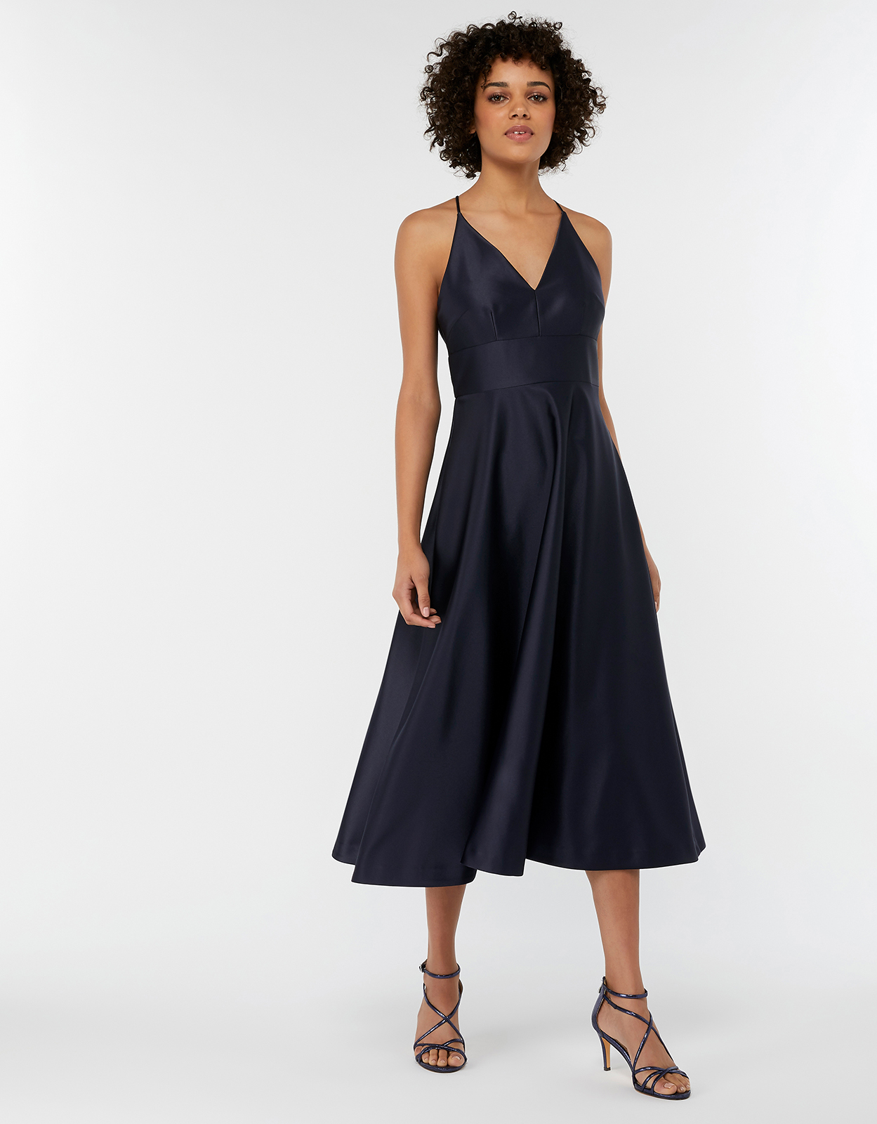 Monsoon Abbey Satin Bow Midi Dress