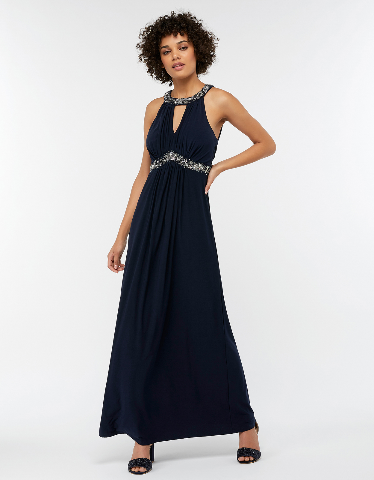 Monsoon Isabeli Embellished Jersey Maxi Bridesmaid Dress