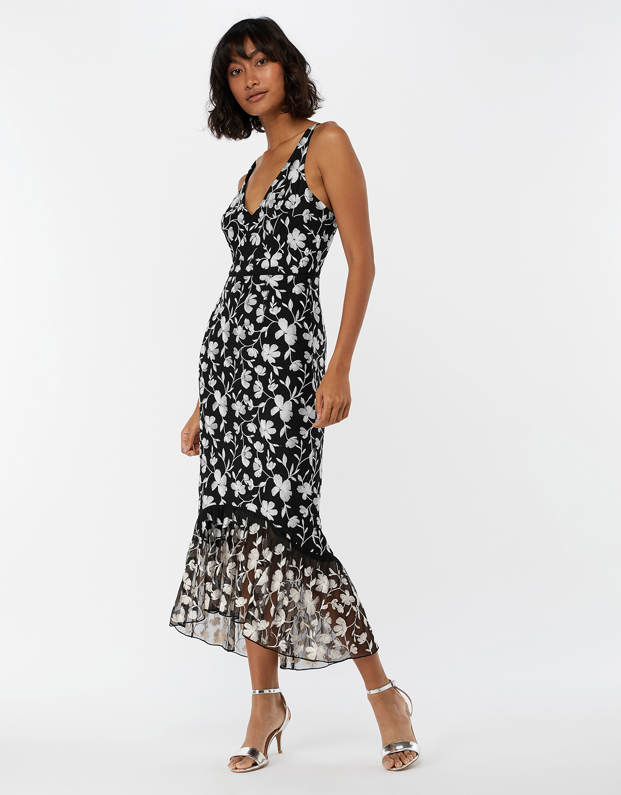 Monsoon Victoria Embroidered Mesh Midi Dress