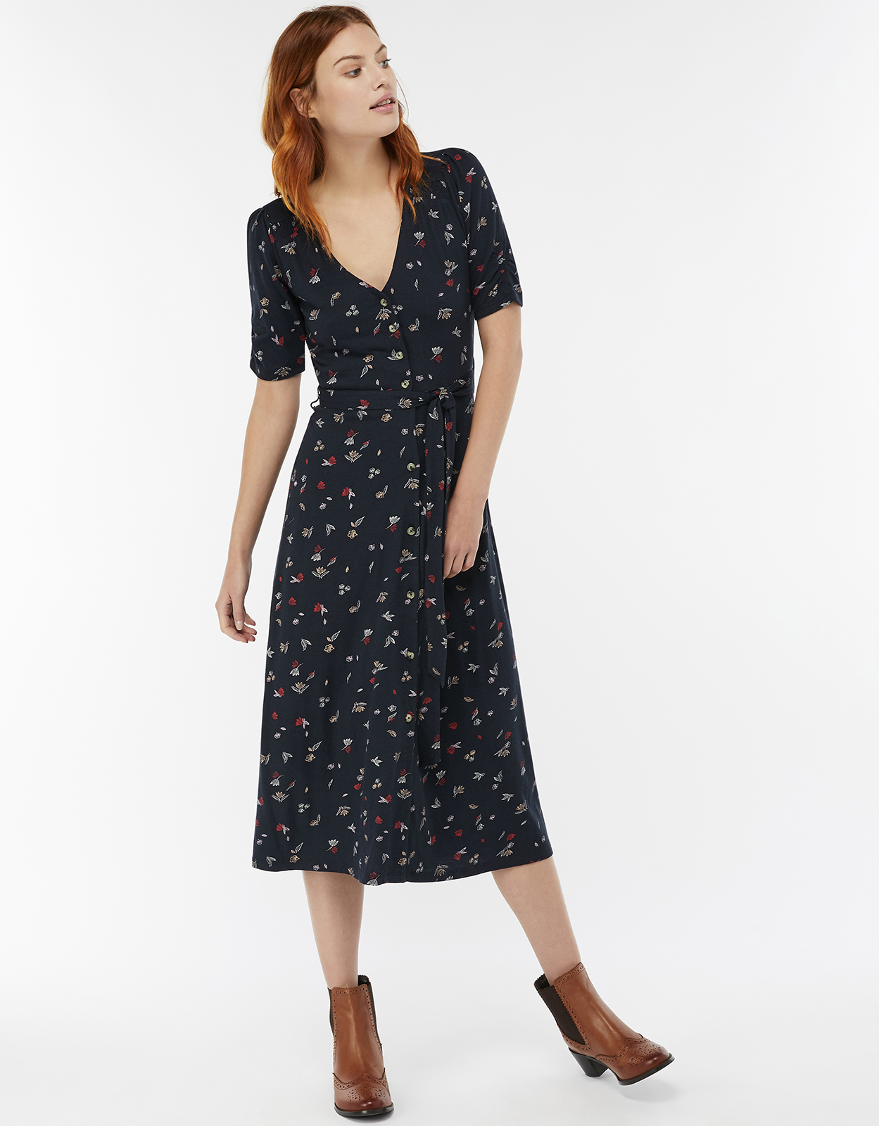 Monsoon Lulu Print Midi Dress