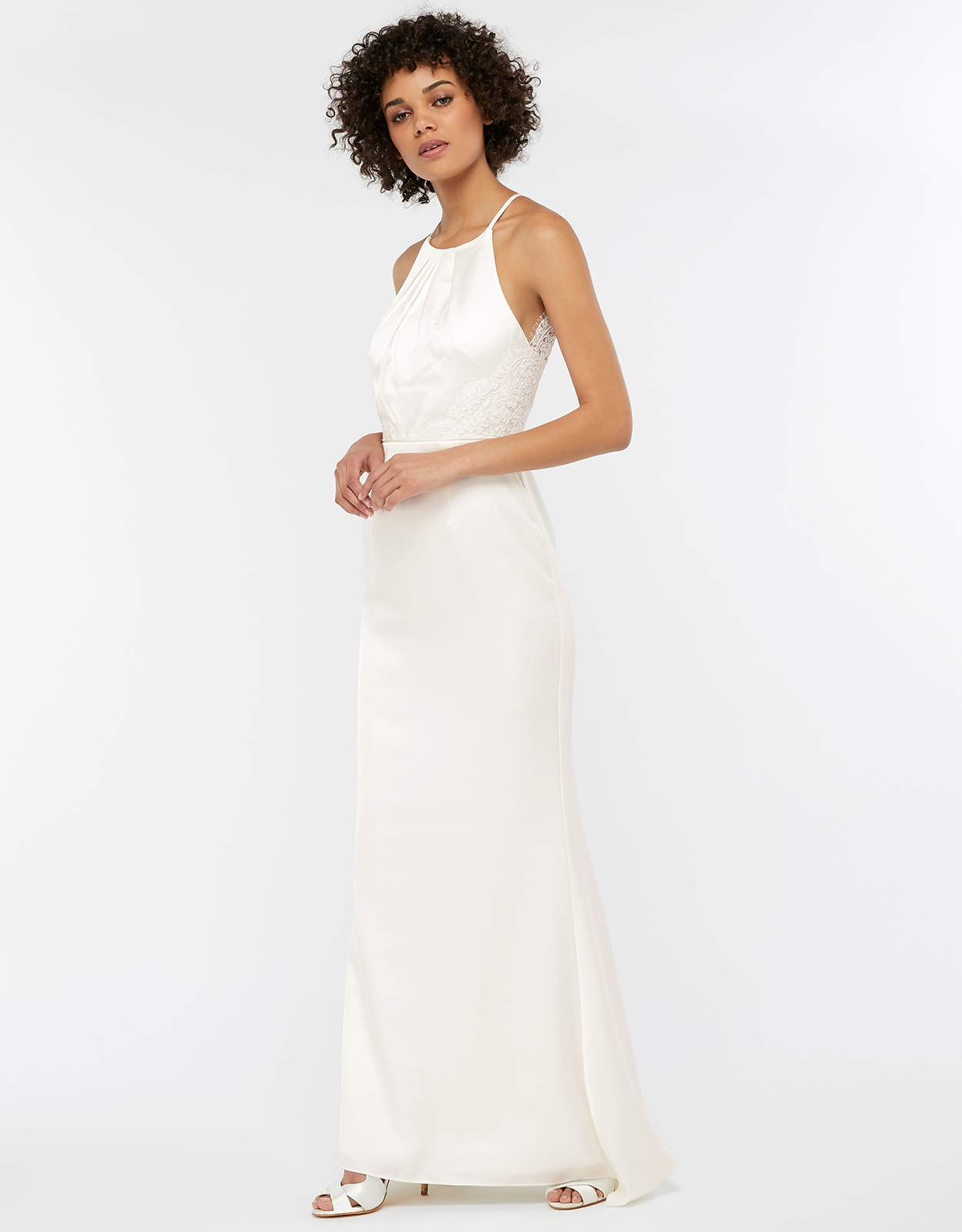 Monsoon Anne Lace Back Satin Maxi Wedding Dress