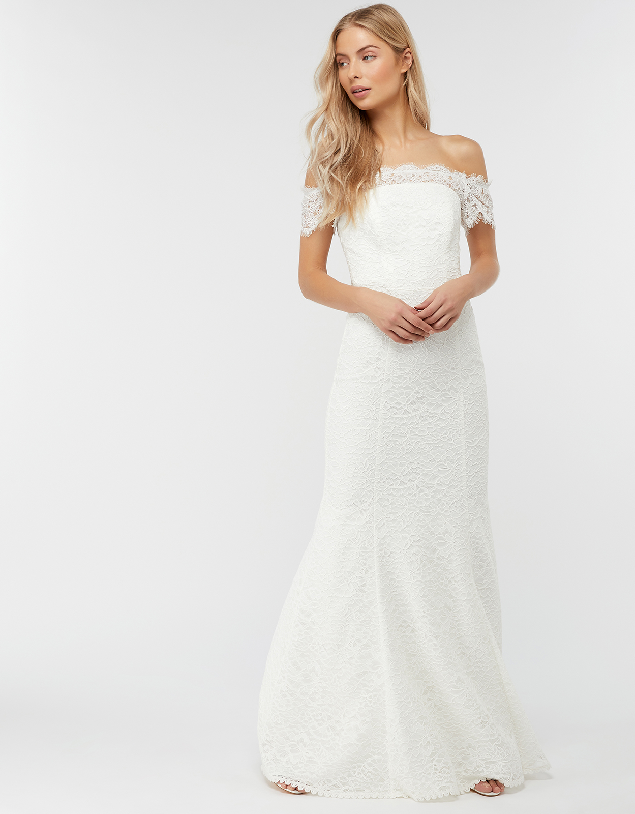 Monsoon Sophie Lace Bardot Maxi Wedding Dress
