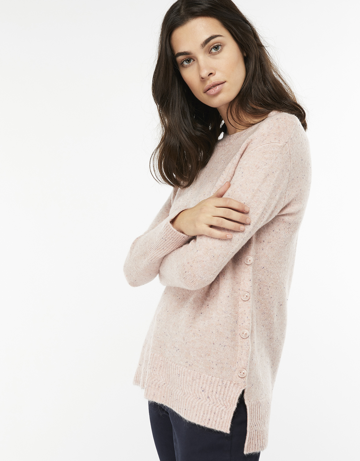 Monsoon Perrie Nep Yarn Button Detail Jumper