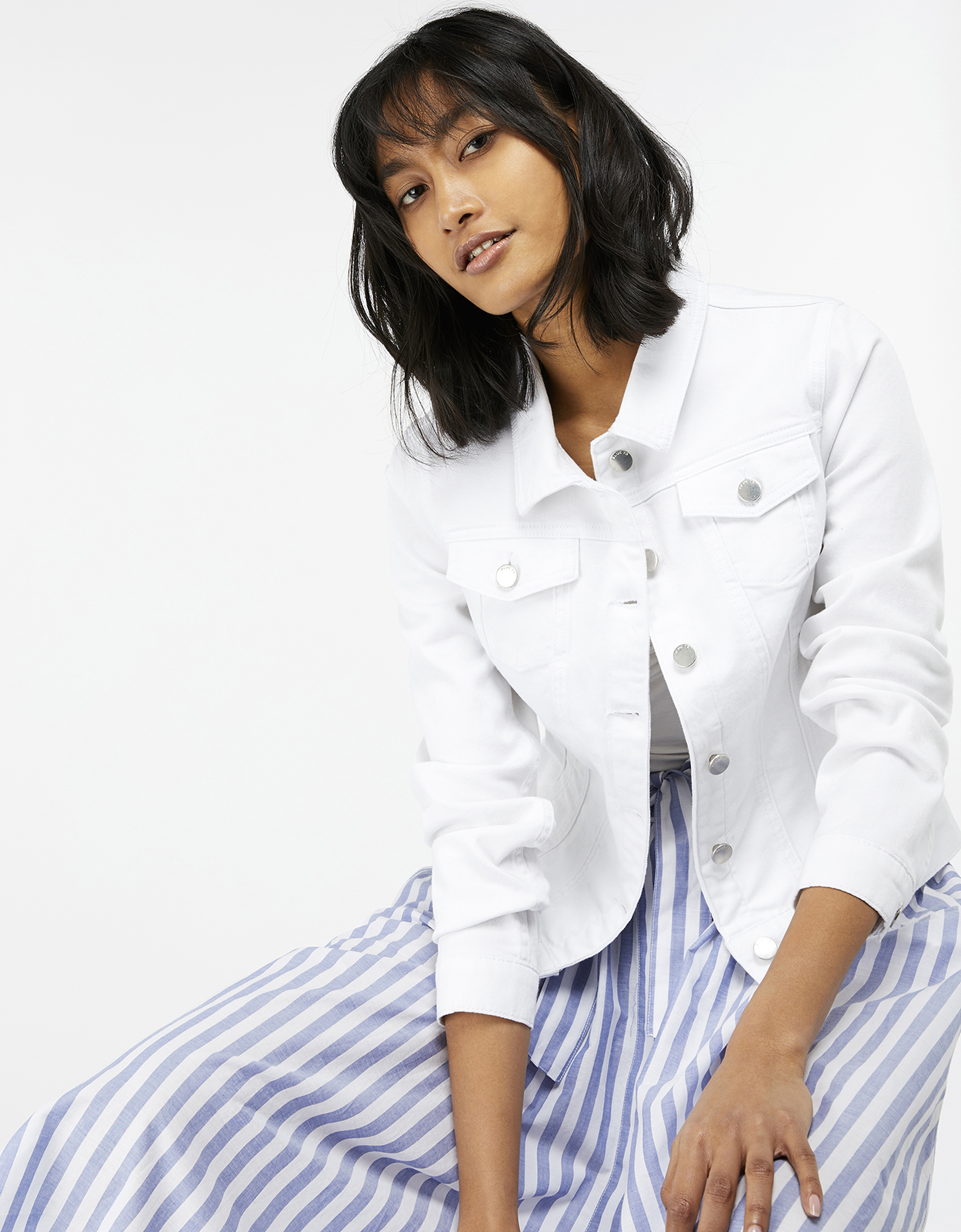 Monsoon Darnell White Denim Jacket