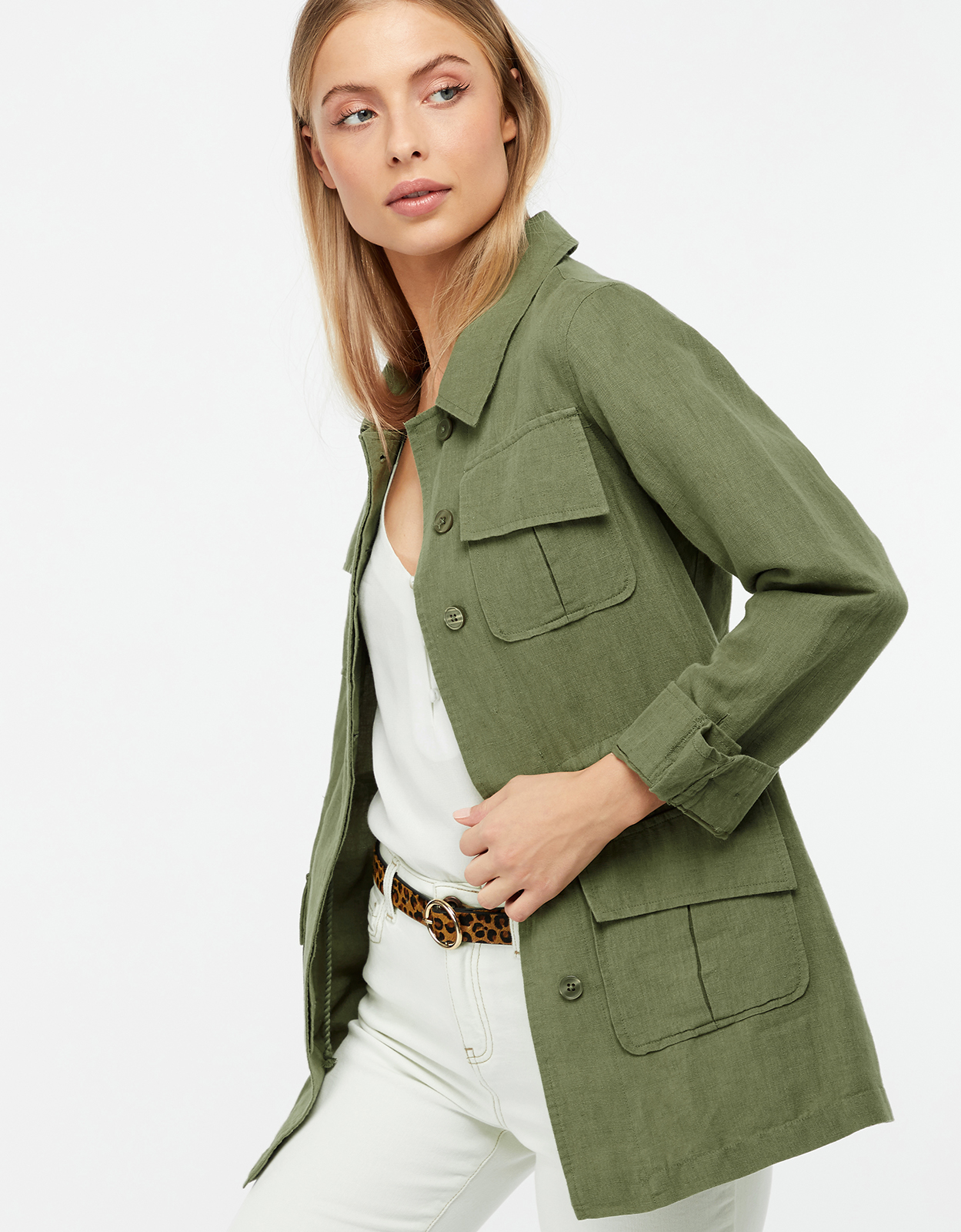 Monsoon Lara Linen Utility Jacket