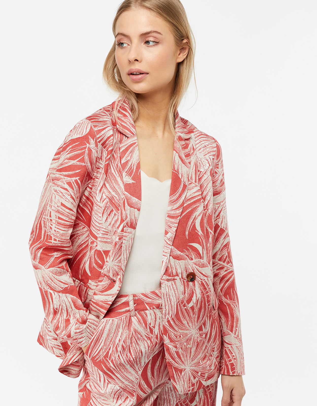 Monsoon Nancy Palm Print Linen Blend Jacket