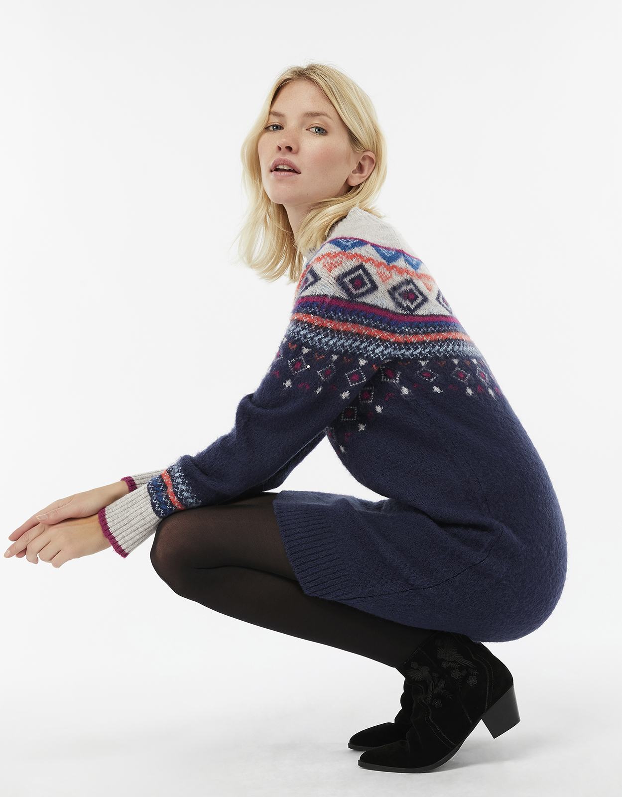 Monsoon Melissa Multicoloured Fair Isle Jumper Dress