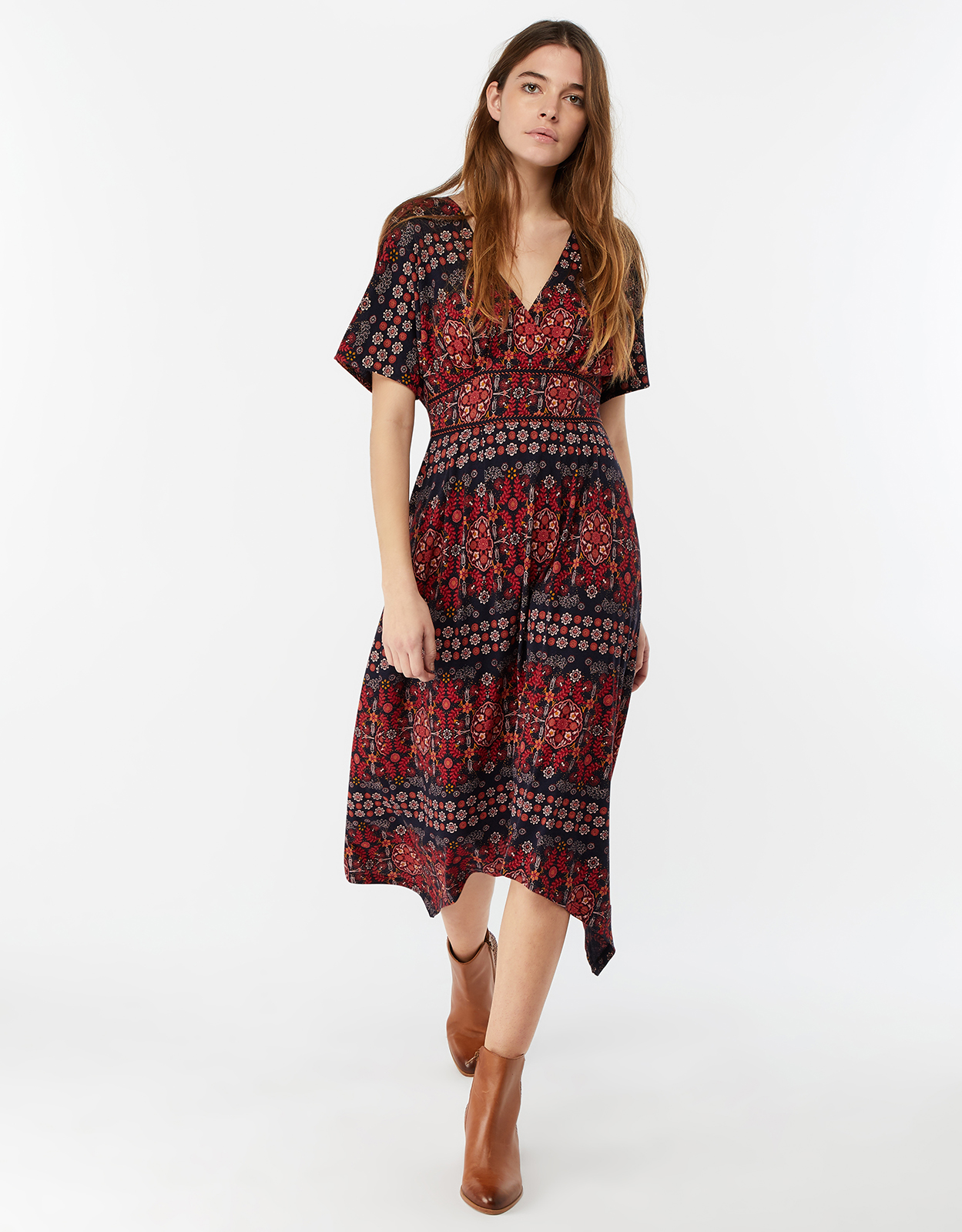 Monsoon Tabby Print Midi Dress