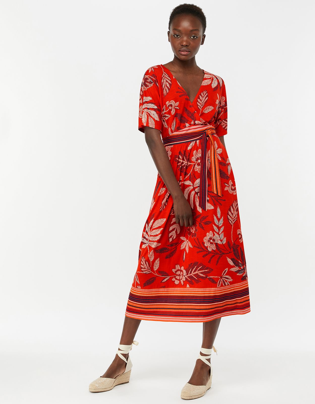 Monsoon Abril Jersey Print Midi Dress