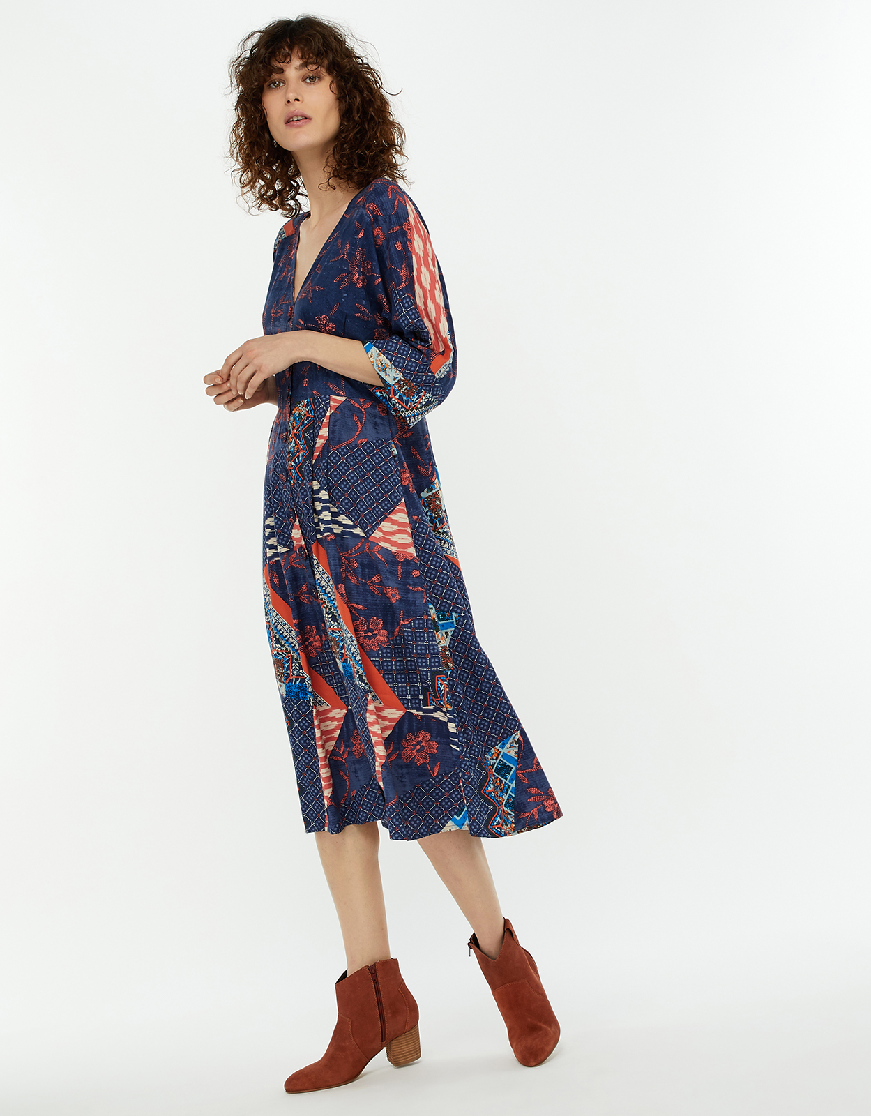 Monsoon Dakota Patch Print Midi Dress