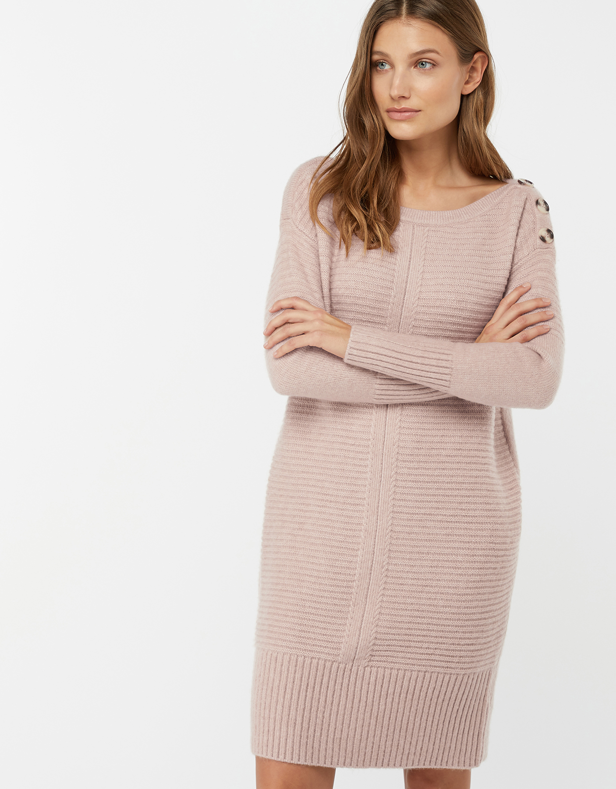 Monsoon Rosie Ribbed Button Shoulder Dress
