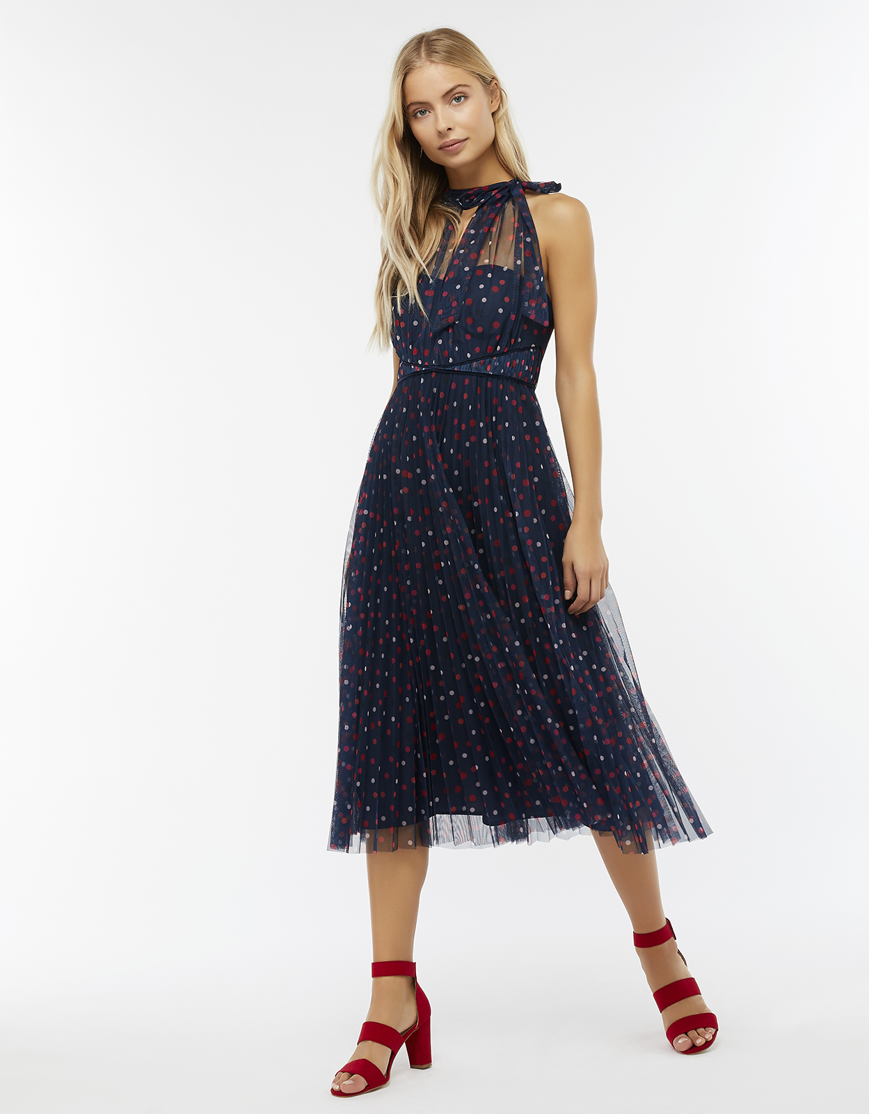 Monsoon Dottie Spot Mesh Midi Dress