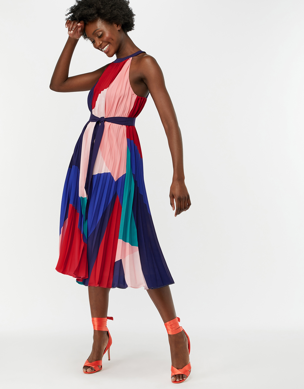 Monsoon Coco Print Pleat Trapeze Midi Dress