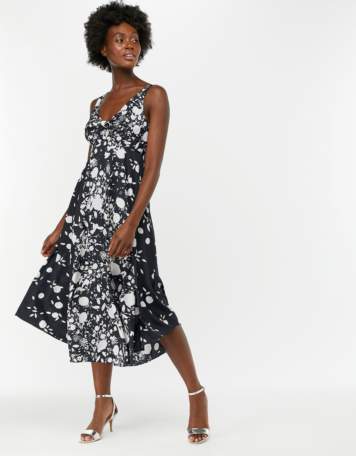 Monsoon Meghan Mono Print Dress