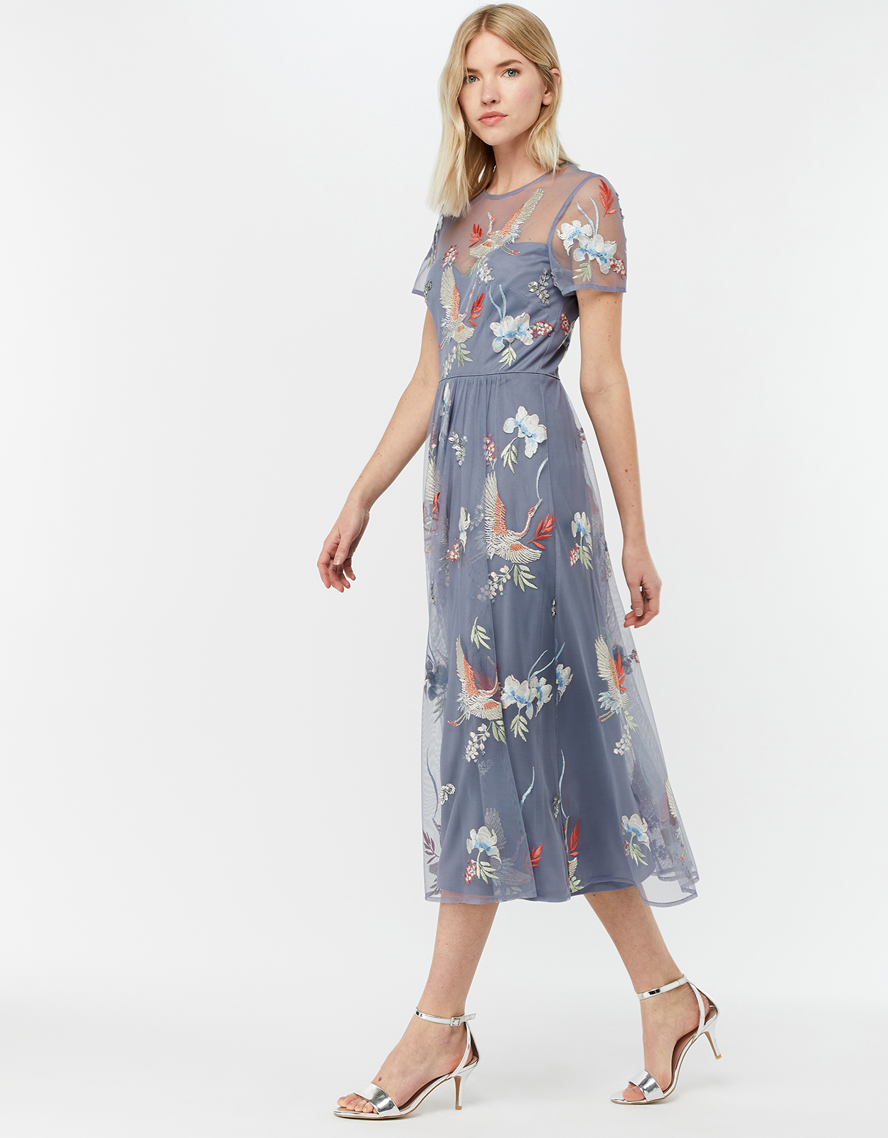 Monsoon Callie Crane Embroidered Midi Dress