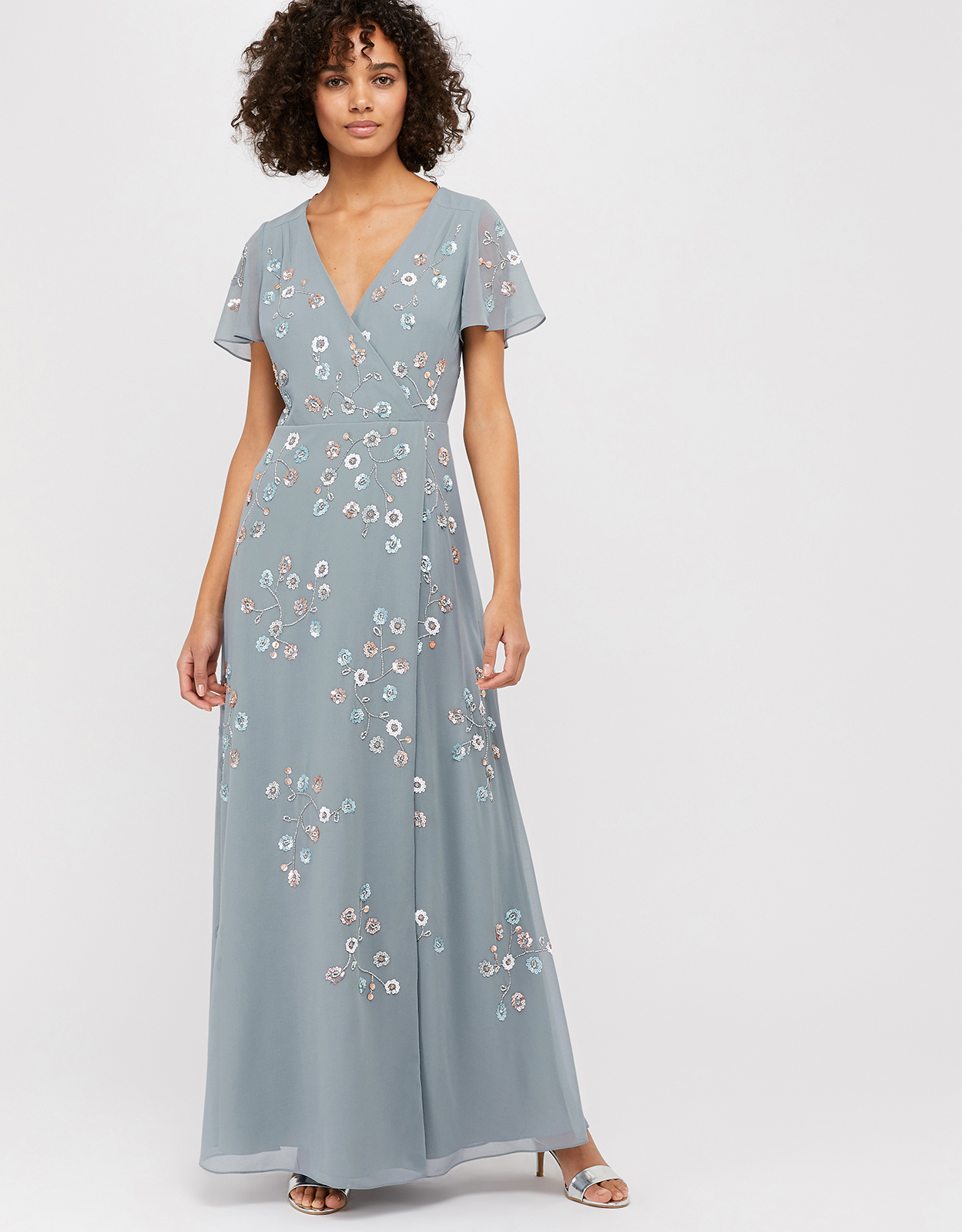 Monsoon Ally Embellished Wrap Maxi Dress
