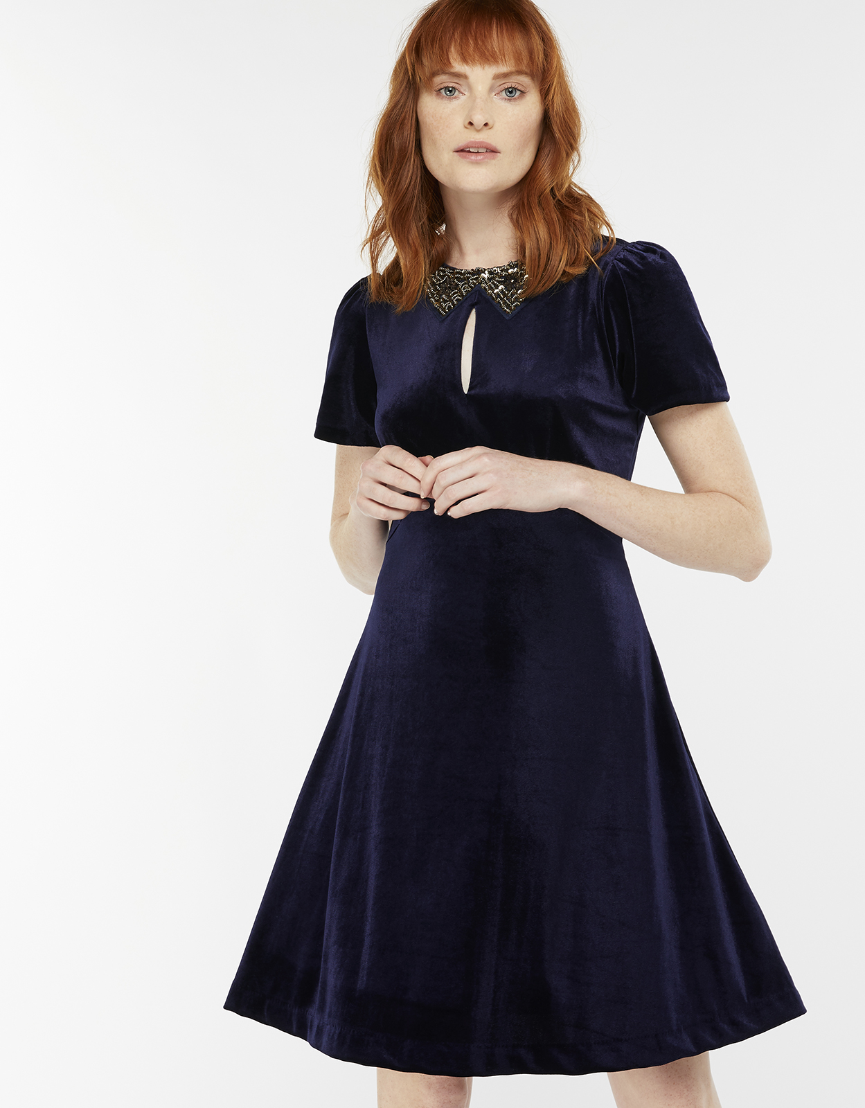 Monsoon Vendella Embellished Collar Velvet Dress