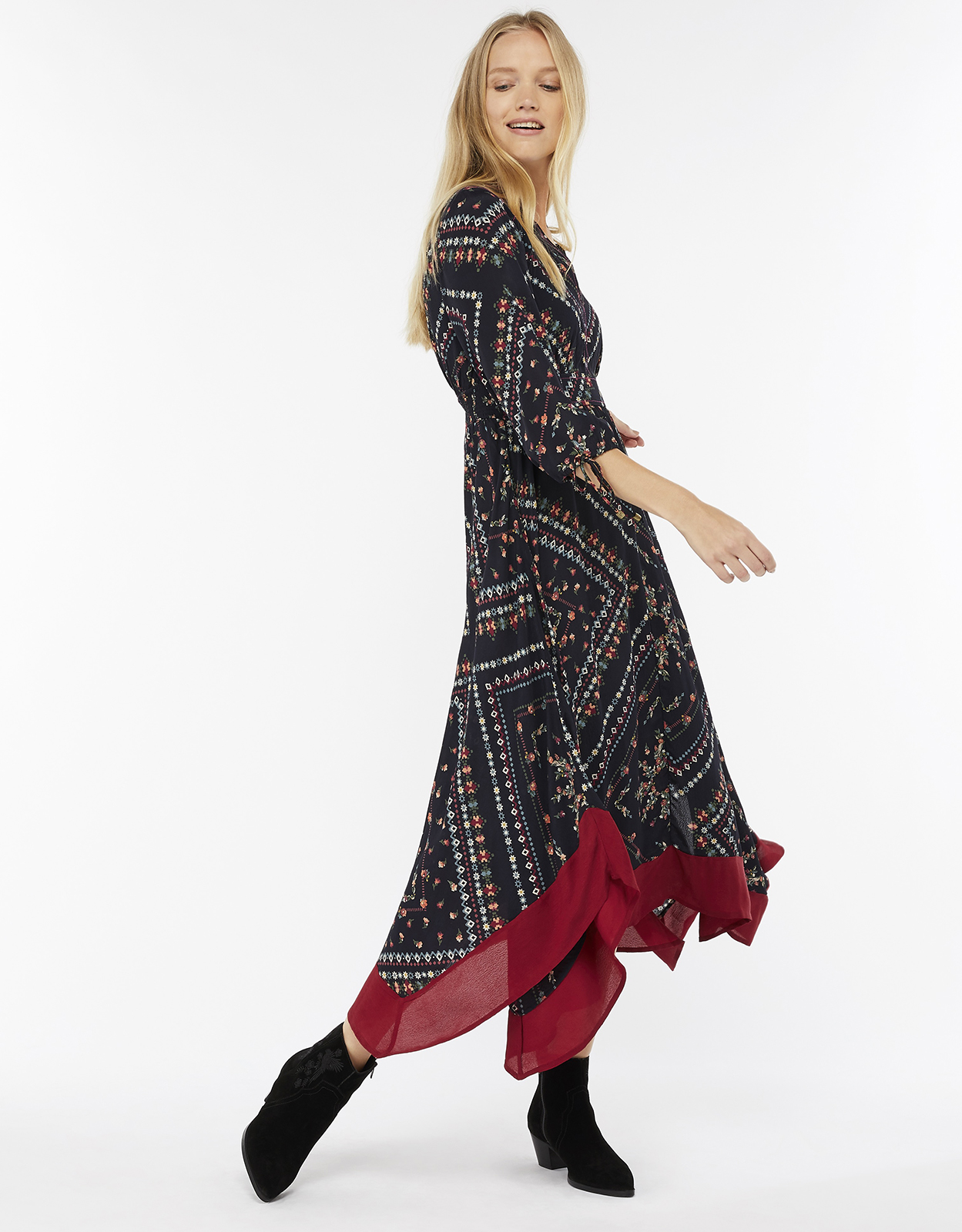 Monsoon Sierra Print Midi Dress