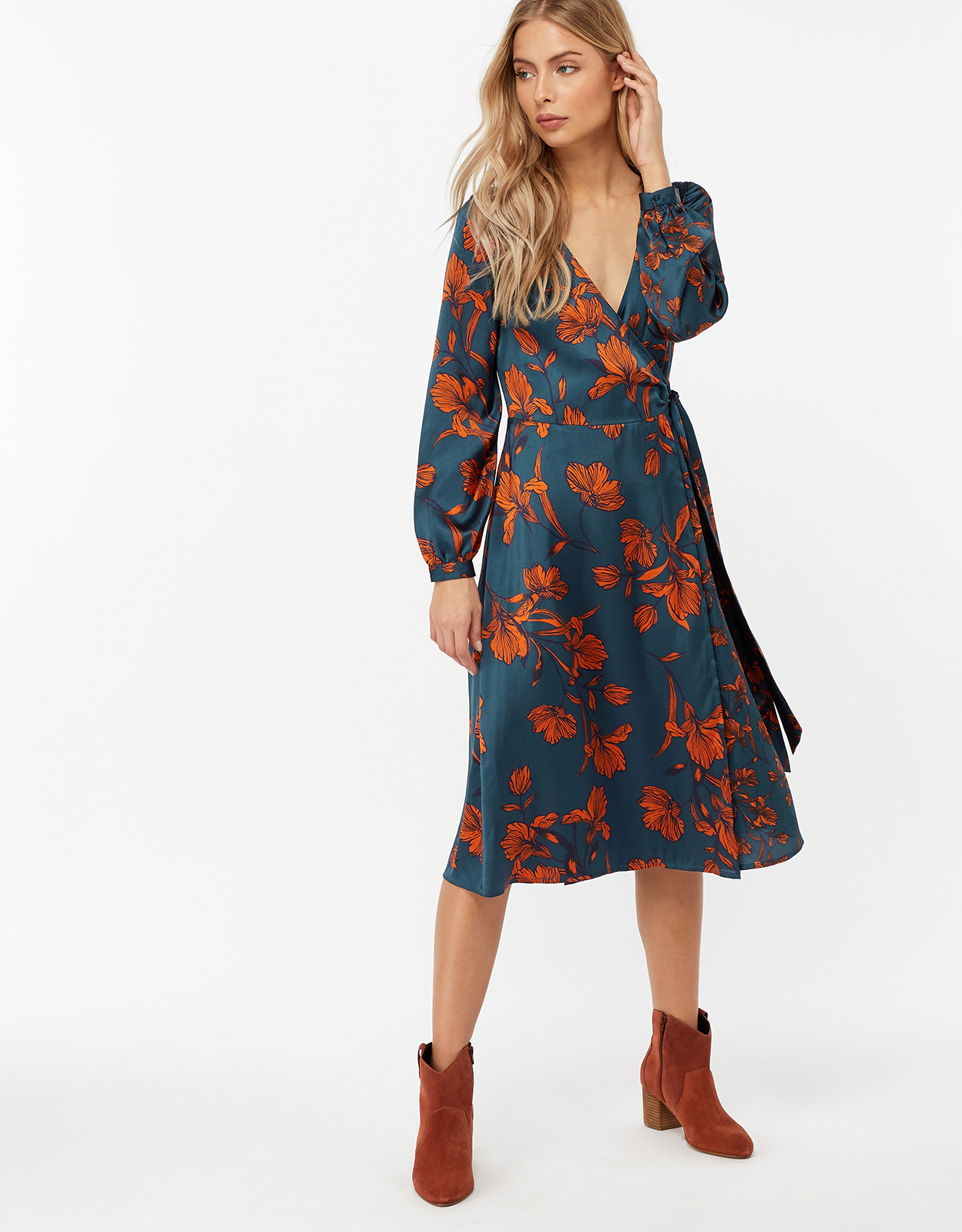 Monsoon Shayna Floral Print Wrap Midi Dress