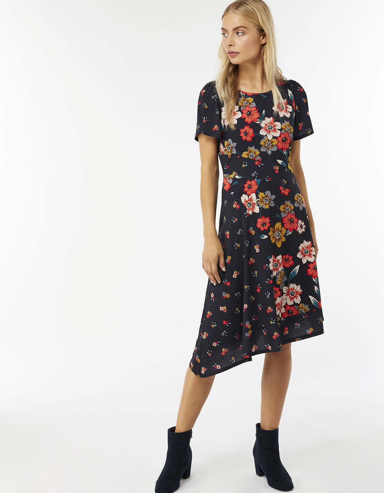 Monsoon Aiden Print Asymmetrical Dress