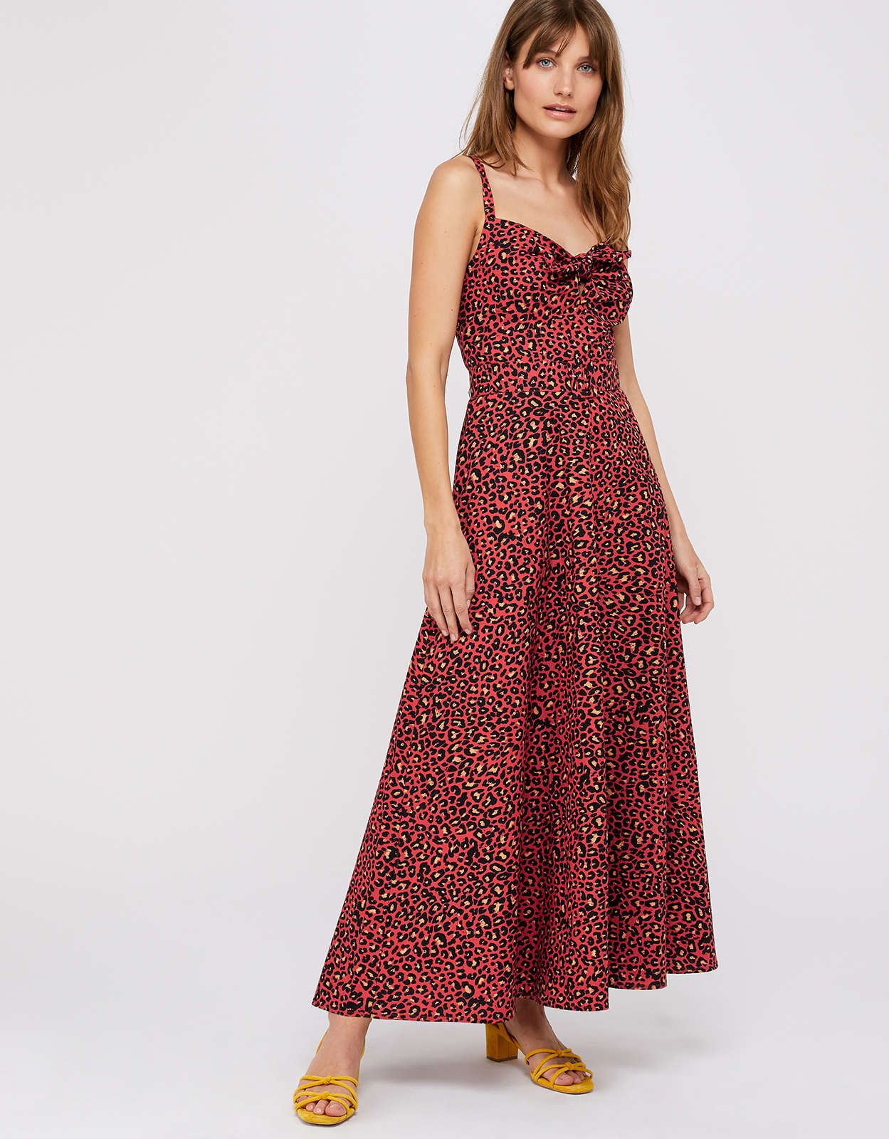 Monsoon Lily Animal Print Cotton Tie Front Maxi Dress