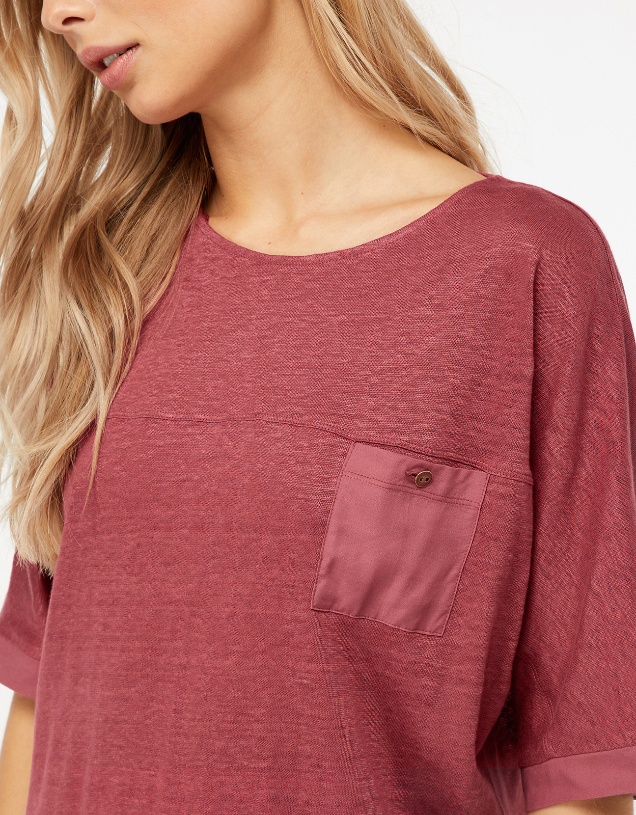 Monsoon Alice Woven Mix Linen Top