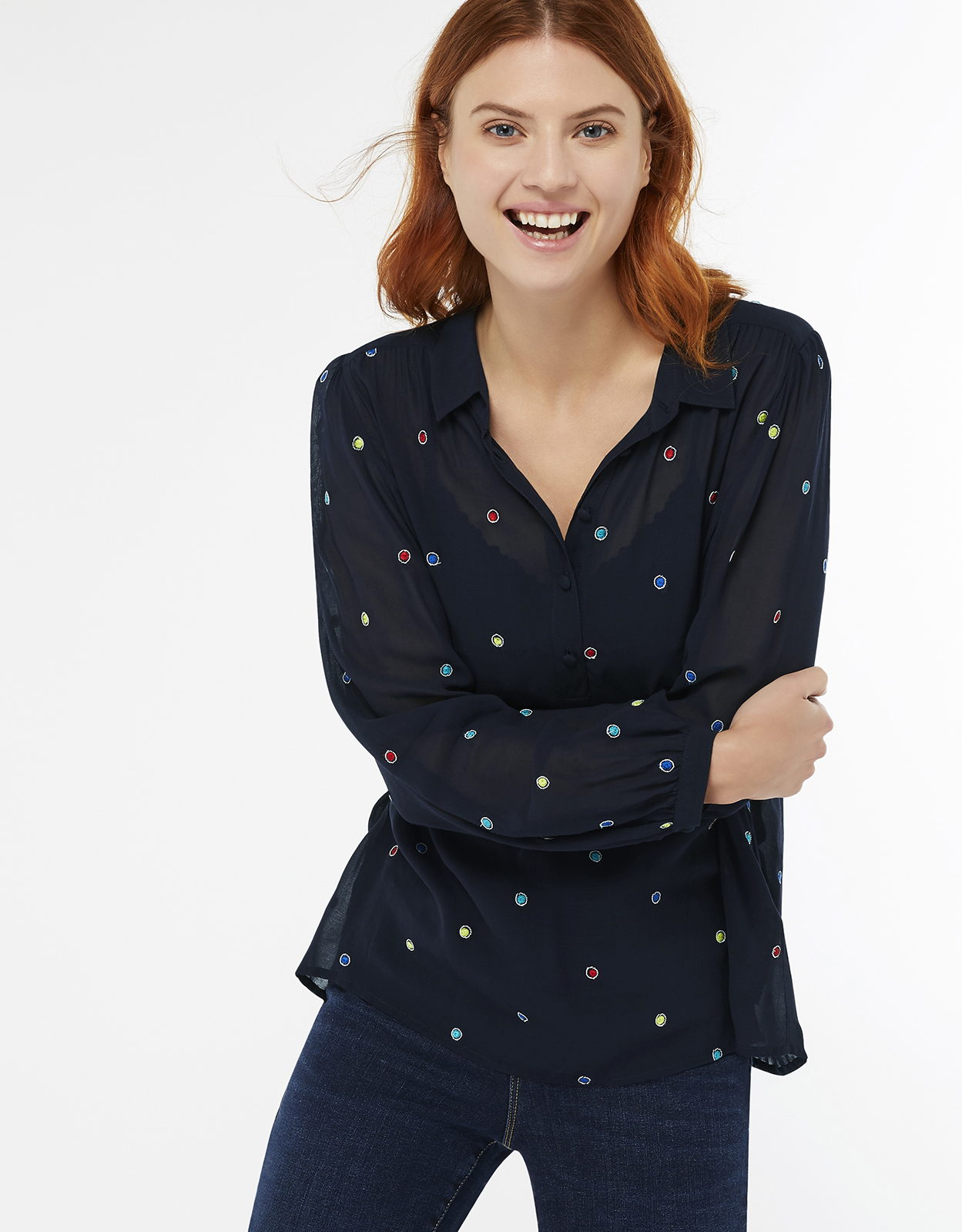 Monsoon Hopper Embroidered Spot Blouse