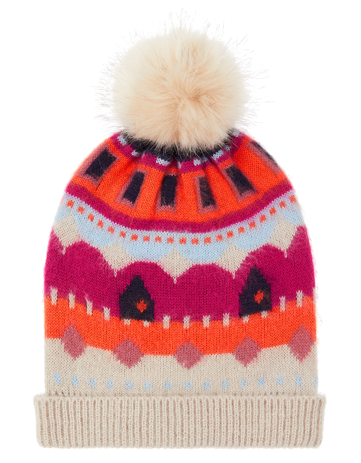 Monsoon Bibi Bright Fair Isle Knit Beanie Hat