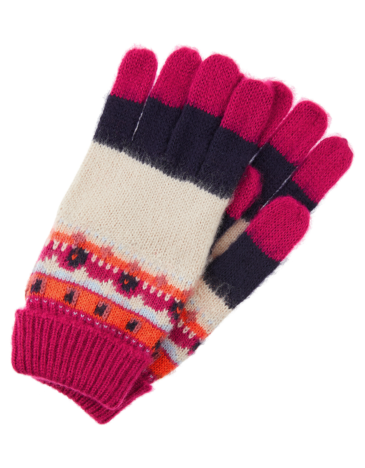 Monsoon Bibi Bright Fair Isle Knit Gloves