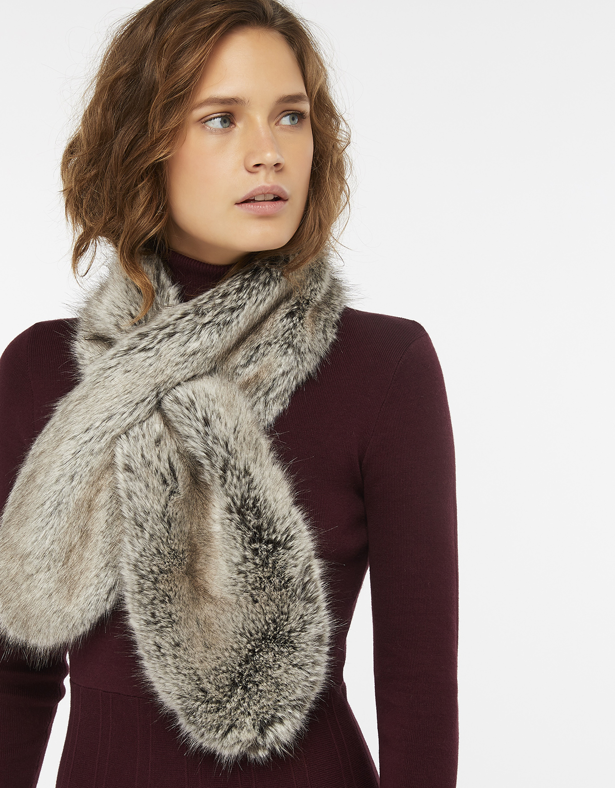 Monsoon Franny Faux Fur Slot Through Stole