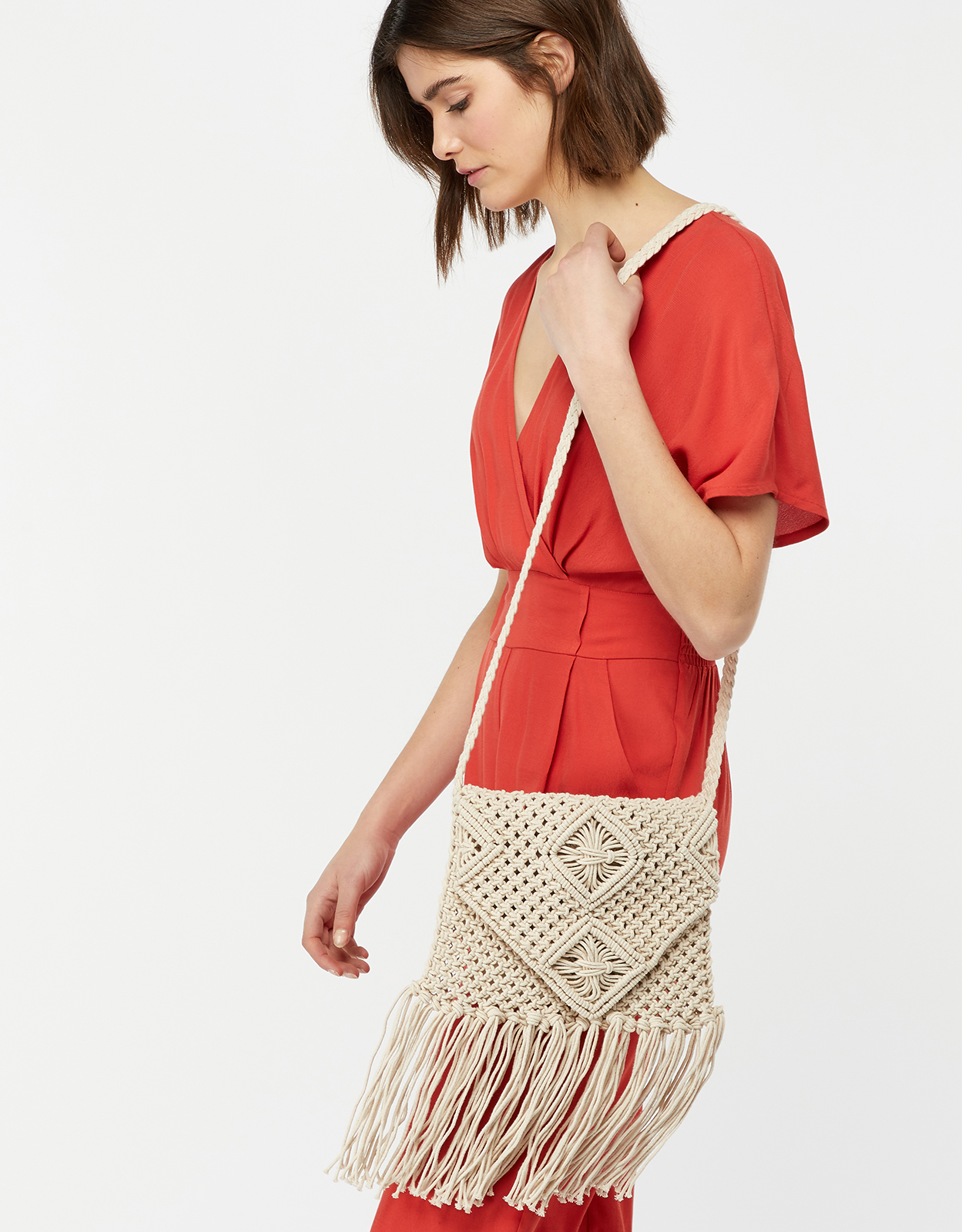 Monsoon Maple Macramé Fringed Cross Body Bag
