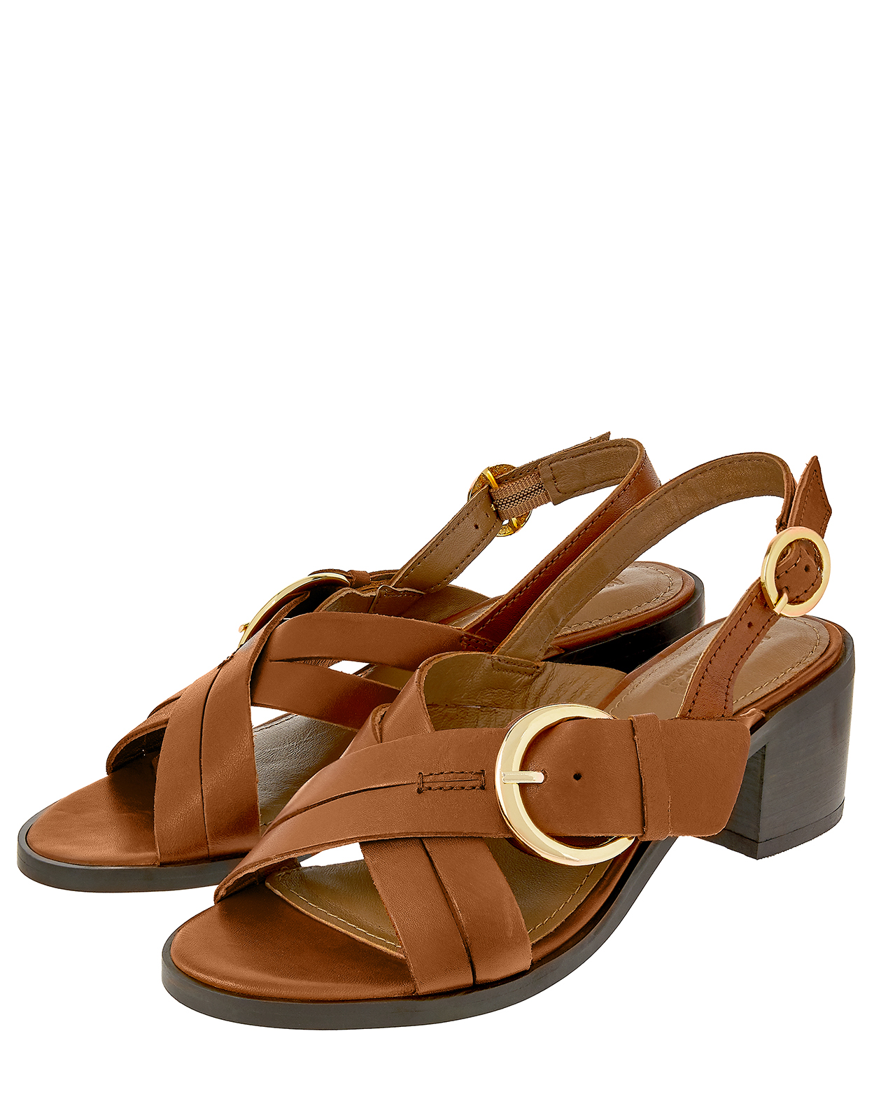 Monsoon Barbican Buckle Mid Block Leather Sandals