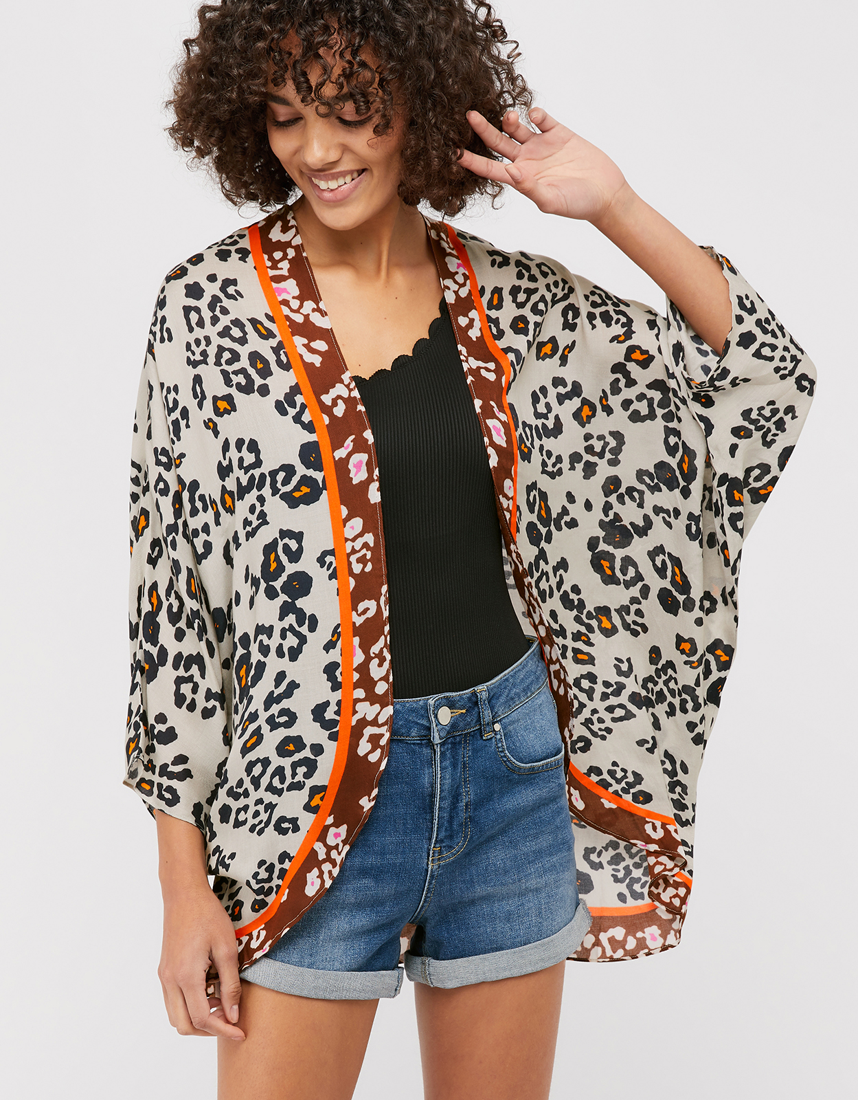 Monsoon Laney Leopard Print Cocoon Cover-Up