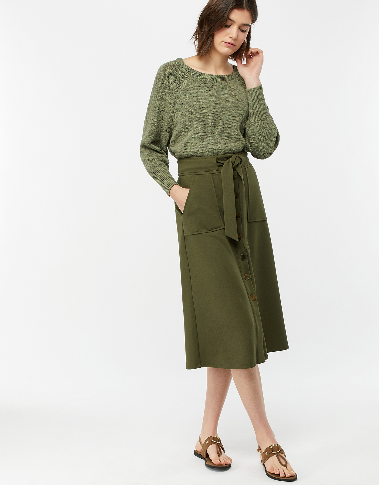 Monsoon Bertie Button Down Crepe Skirt