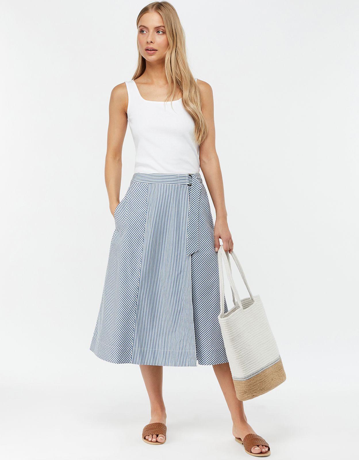 Monsoon Bella Stripe Cotton Wrap Midi Skirt