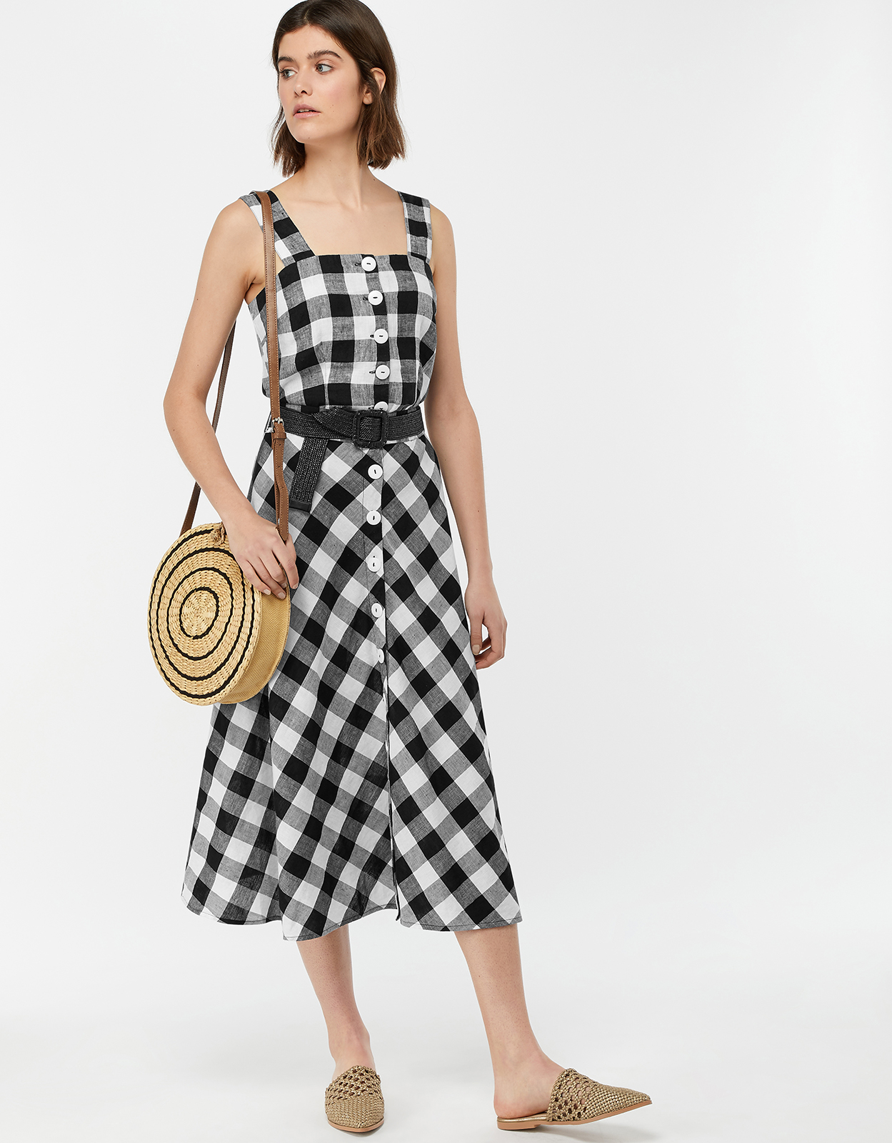 Monsoon Nina Gingham Linen Midi Skirt