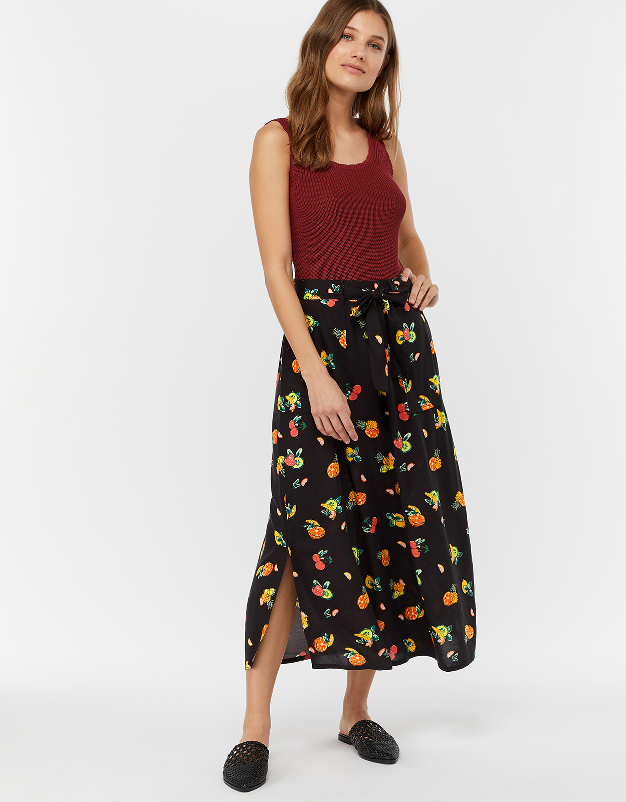 Monsoon Laticia Fruit Print Midi Skirt