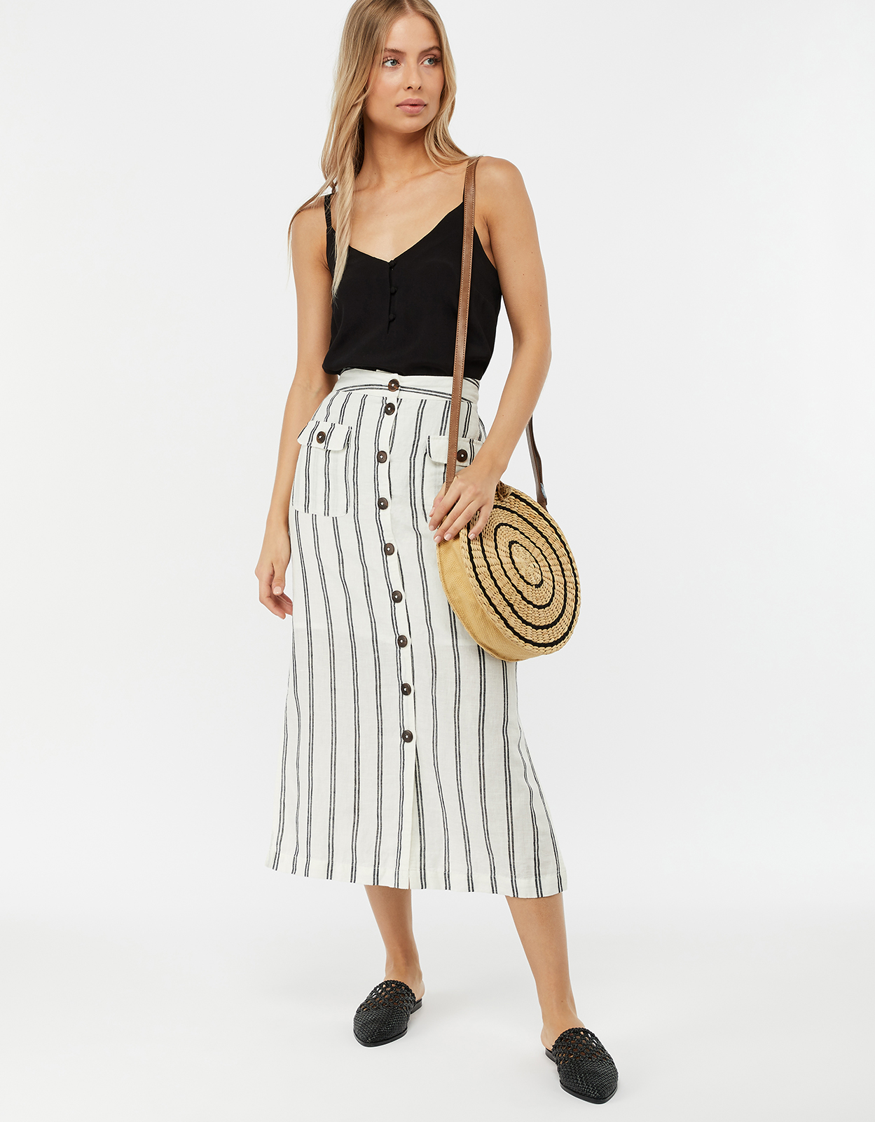 Monsoon Morgan Linen Blend Stripe Midi Skirt