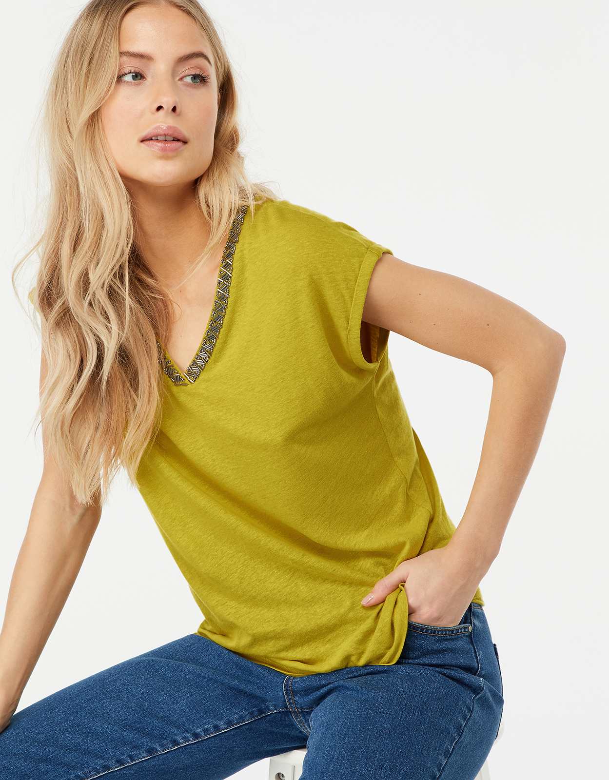 Monsoon Tina Embellished Linen Top
