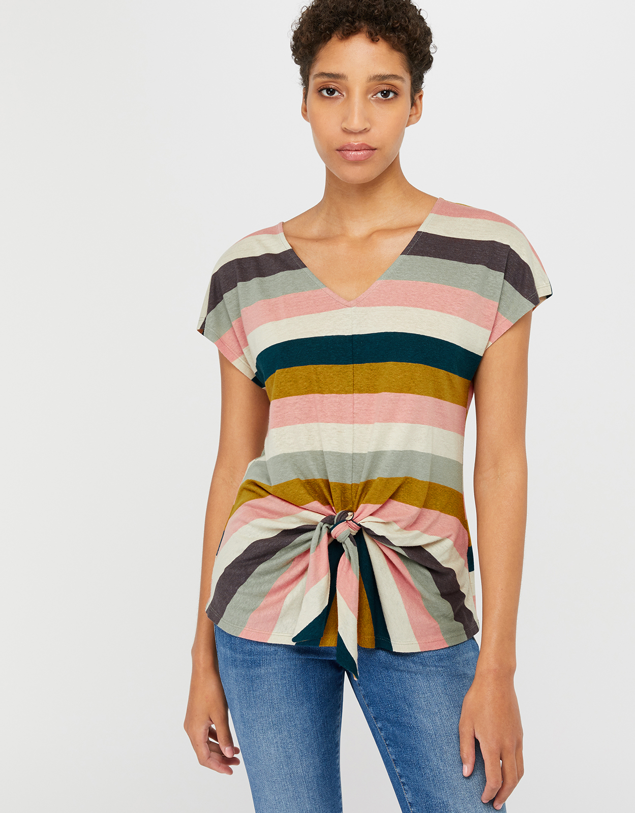 Monsoon Sian Stripe Linen Top